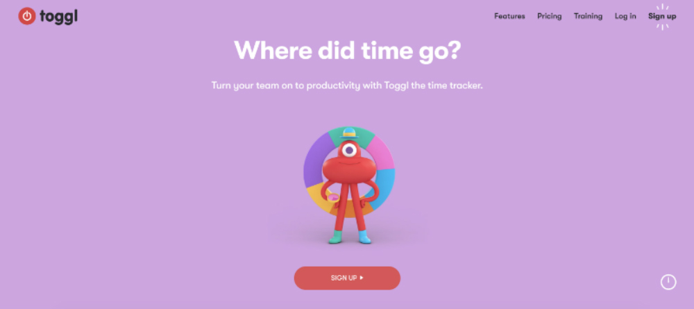 toggl homepage example