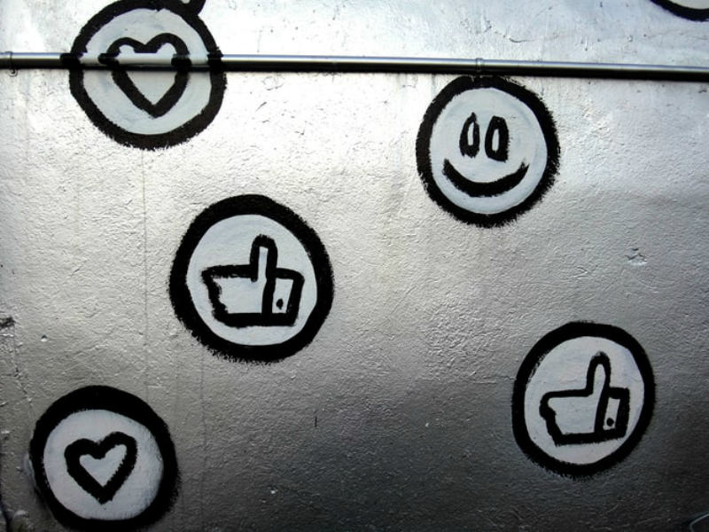 likes and smiley social media reactions