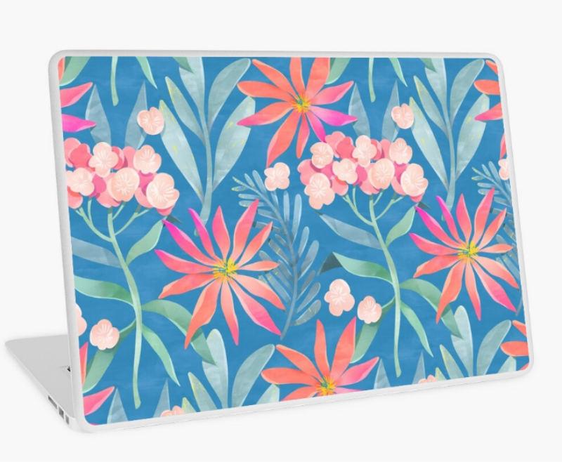 flower laptop sticker design