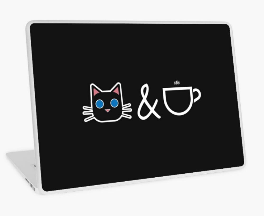 cat coffee laptop sticker design