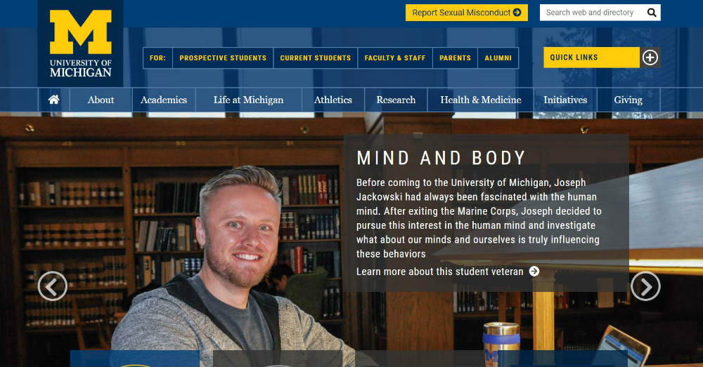 University_of_Michigan website