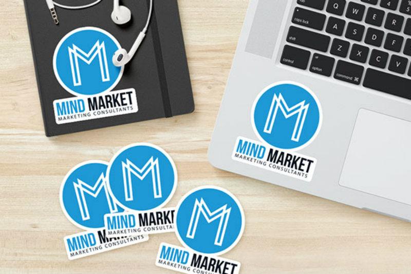 sticker marketing on laptop