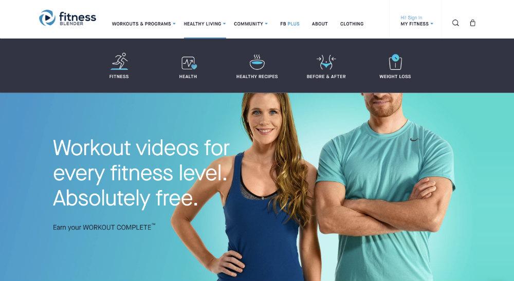 fitness blender homepage
