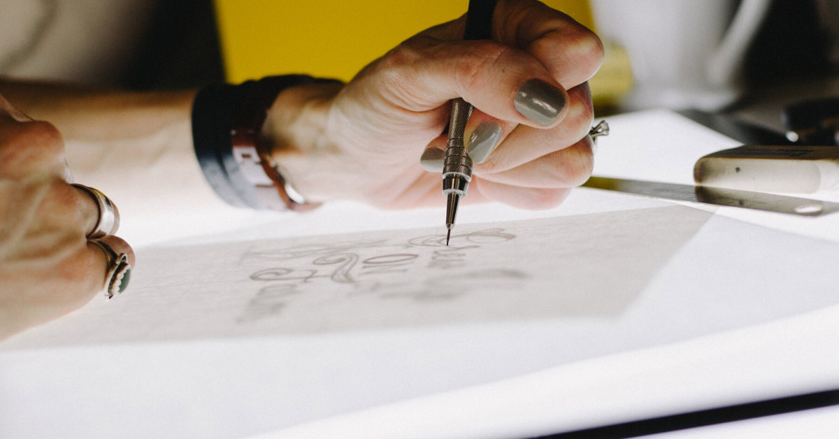 woman working on graphic design