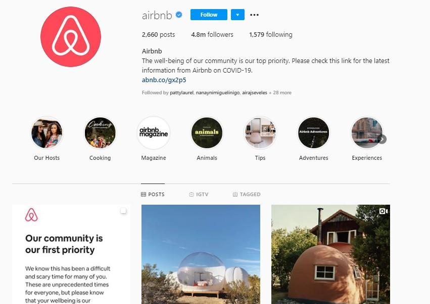 Airbnb social media design ecommerce