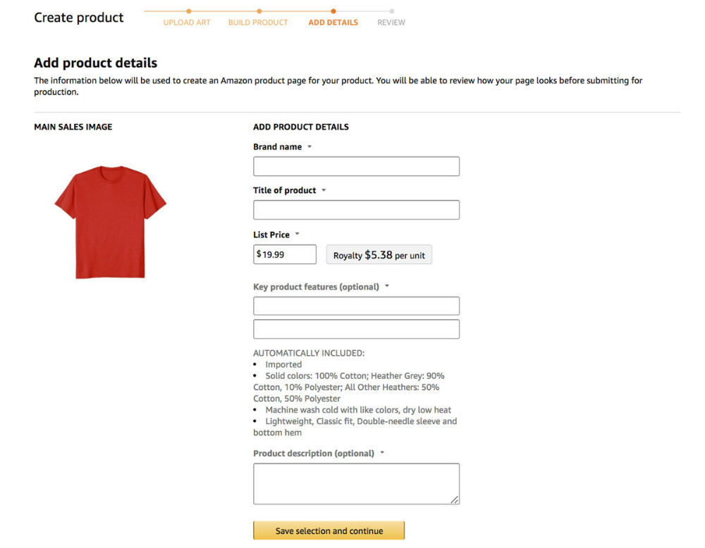 Amazon t-shirts business product tab