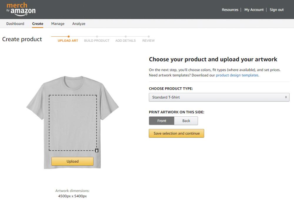 Amazon t-shirts business create tab