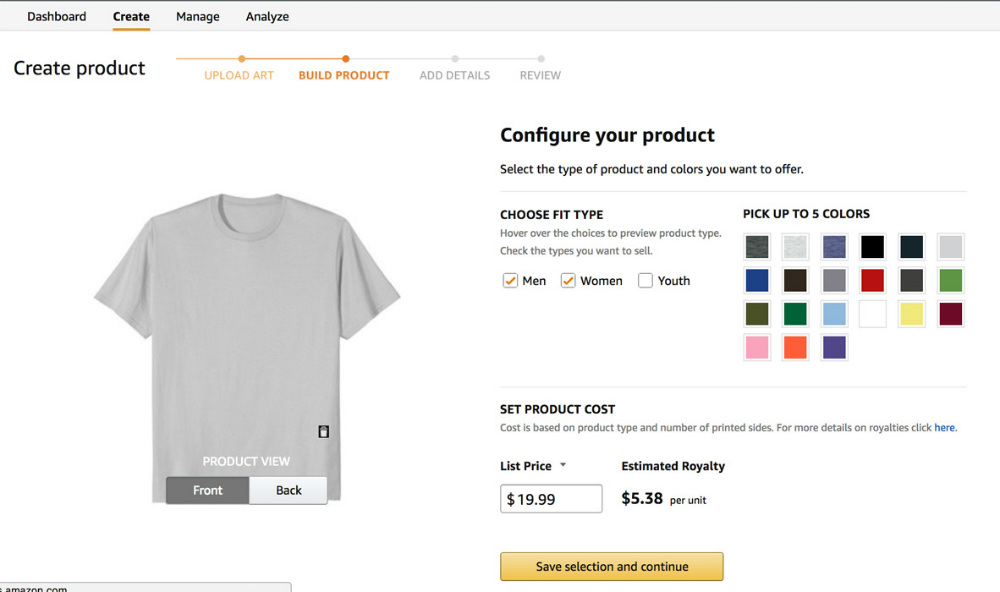 Amazon t-shirts business build product tab