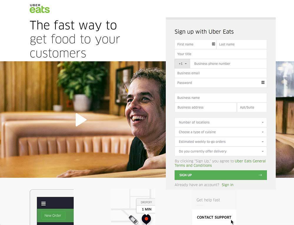 uber eats web page design