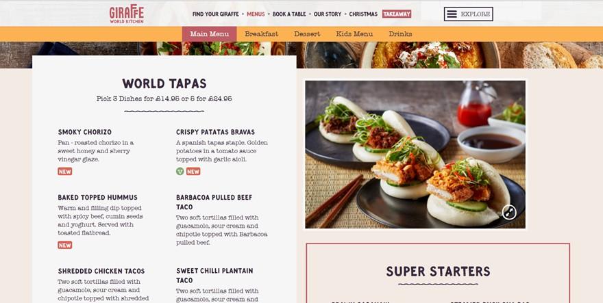 restaurant menu example