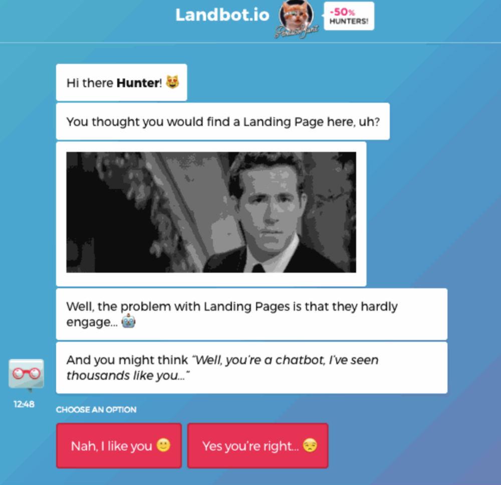 landbot web page design
