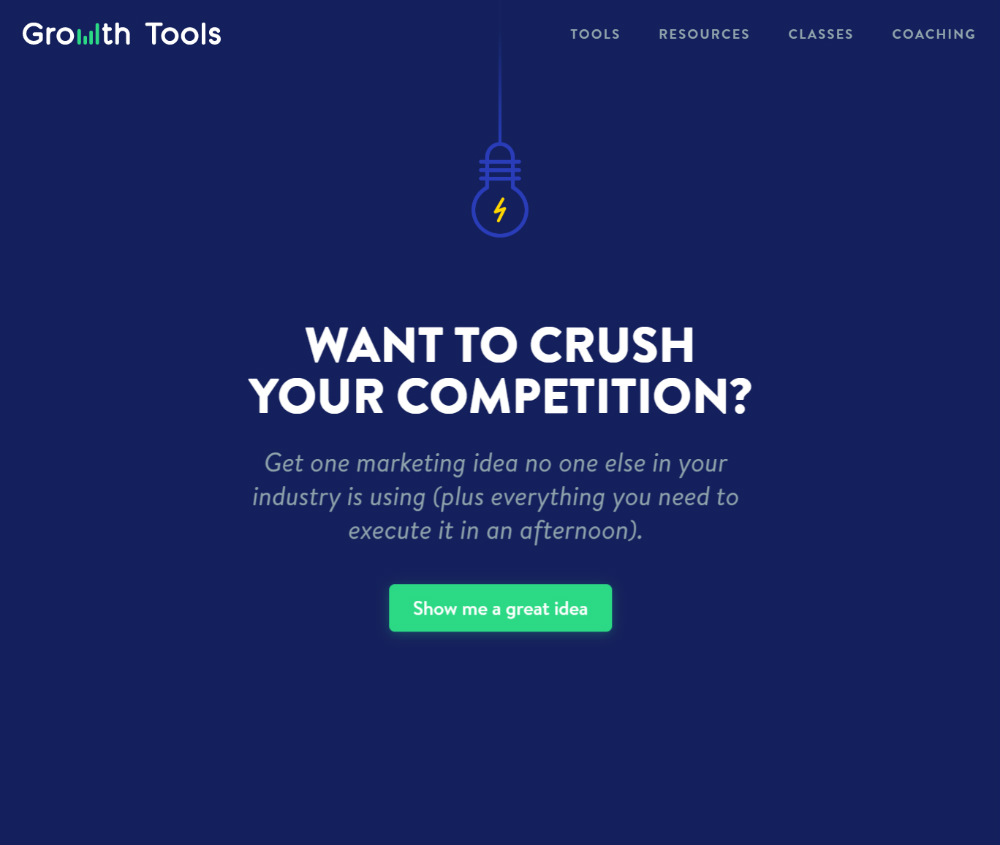 Growth tools landing page design