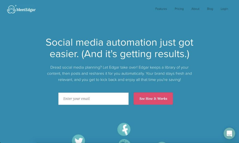 Meet Edgar landing page design