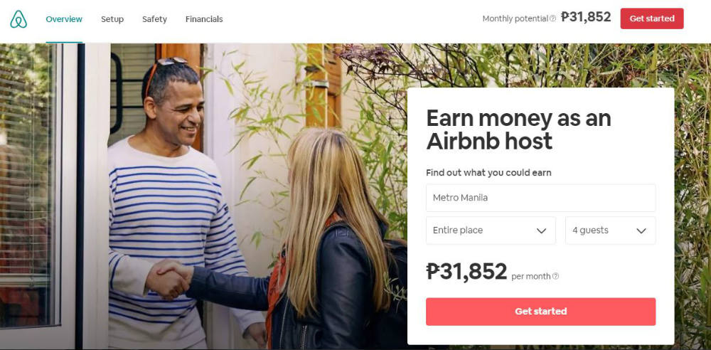 airbnb web page