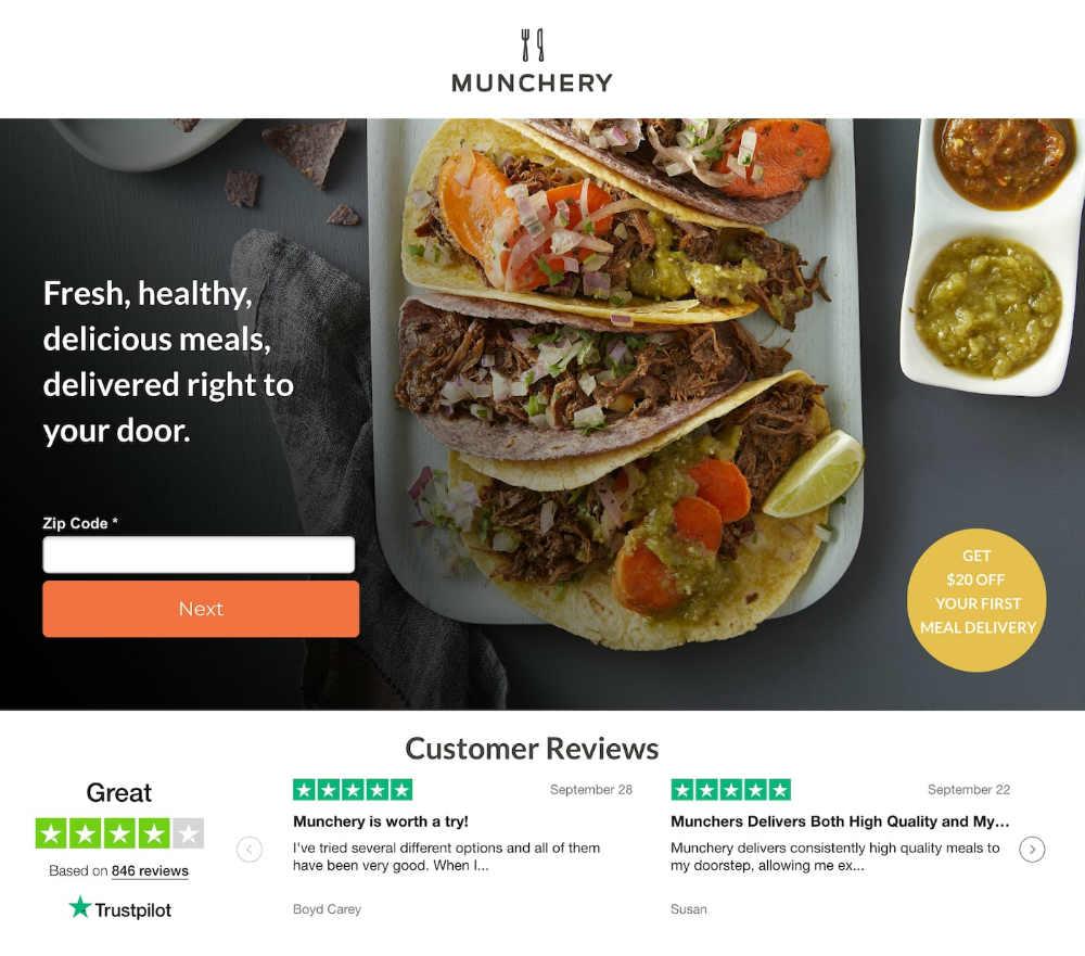 munchery web page design