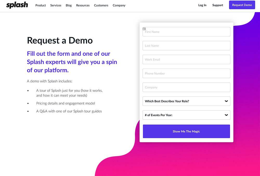 splash web page design