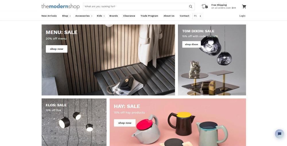 the-modern-shop homepage