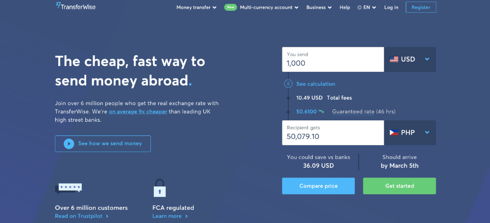 transferwise web page design