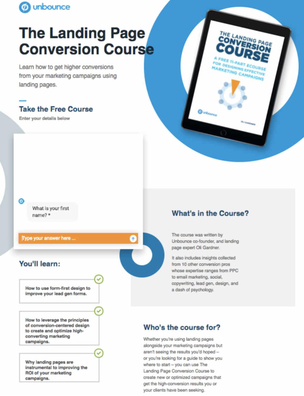 unbounce web page design