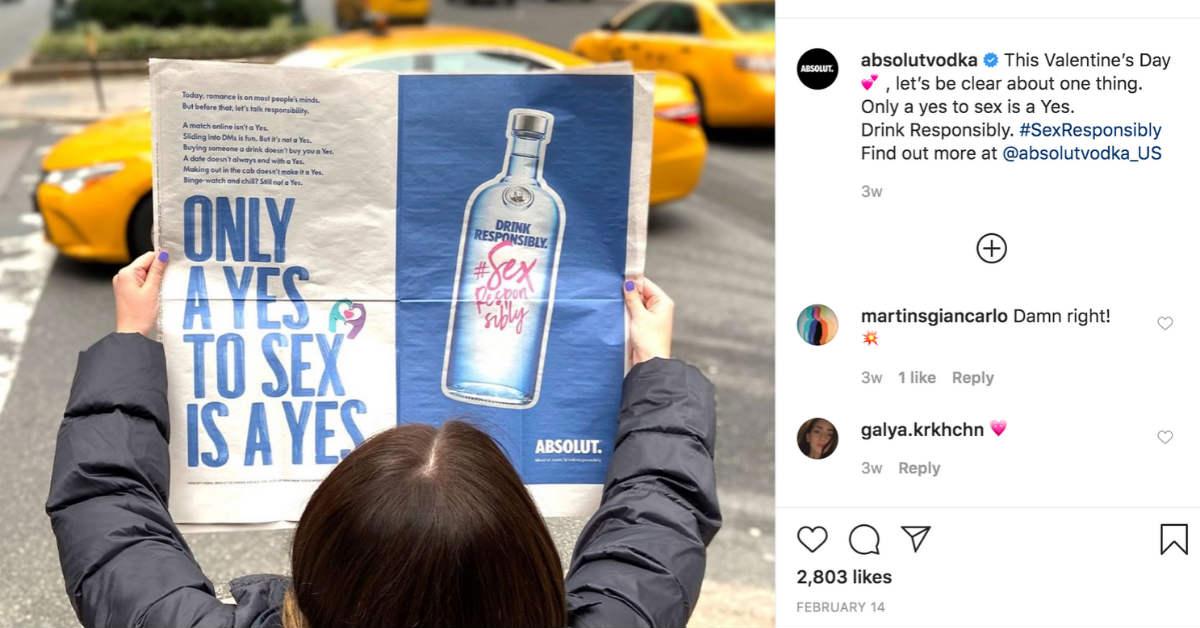 Vodka social media ad example