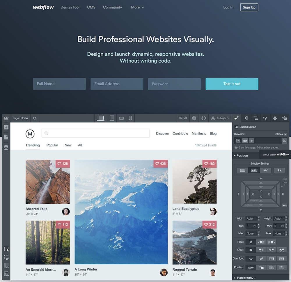 webflow web page design