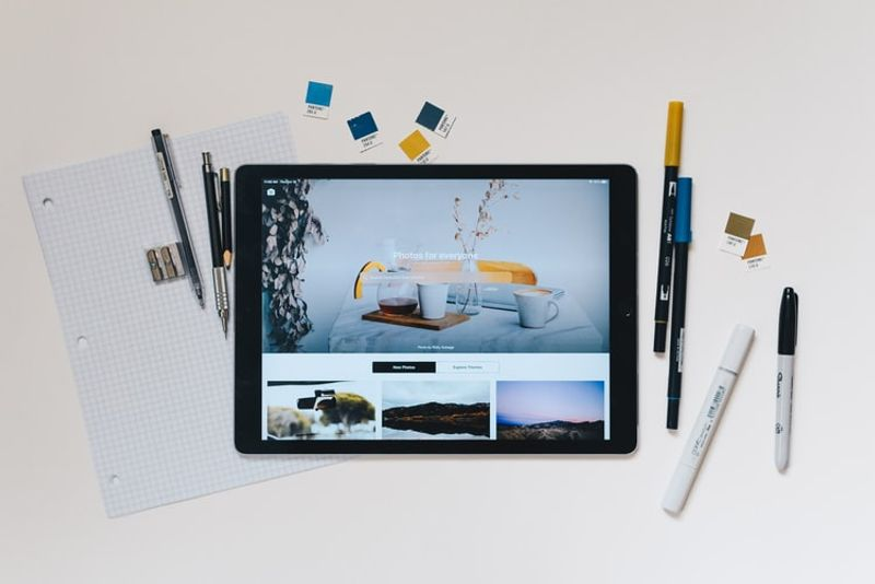 tablet and pens